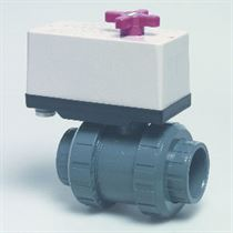 50mm Praher Peraqua PVC 2-way ball valve, 230 Volt, L-boring