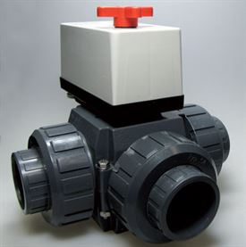 40mm Praher Peraqua PVC 3-way ball valve, 230 Volt, T-boring